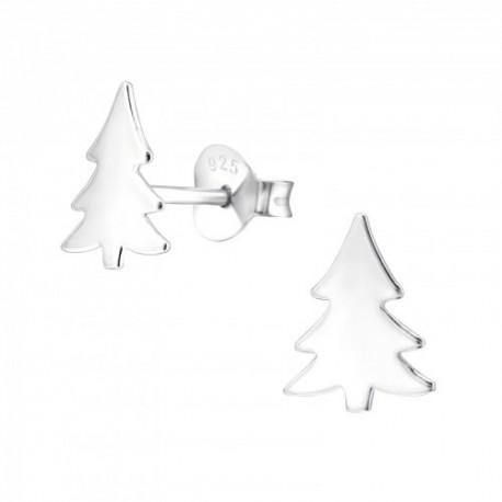 Cercei din argint 925 pentru copii, model Brad Craciun Plain