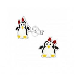 Cercei din argint 925 pentru copii, model Pinguin cu fundita