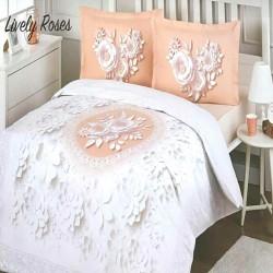 Lenjerie de pat LIVELY ROSES, cearceaf cu elastic 160x200