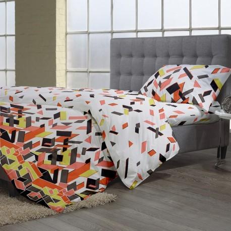 Lenjerie de pat bumbac cu imprimeu puzzle si cearceaf -perna in dungi