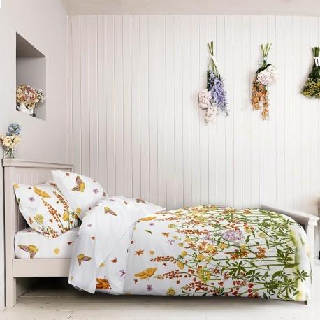 Lenjerie de pat bumbac cu flori si fluturi