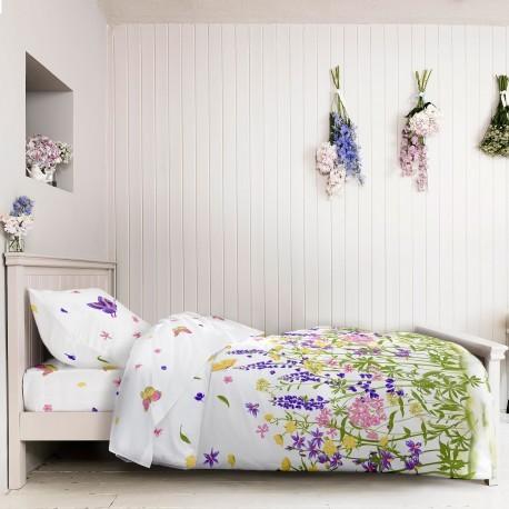 Lenjerie de pat bumbac cu imprimeu cu flori si fluturi