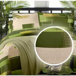 Lenjerie de pat bumbac creponat Minimal Verde - Single