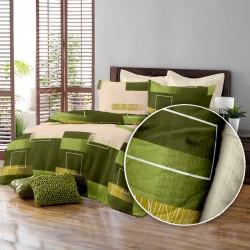 Lenjerie de pat bumbac creponat Minimal Verde & Crem, 6 piese