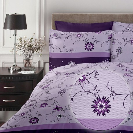 Lenjerie de pat single bumbac creponat Purple