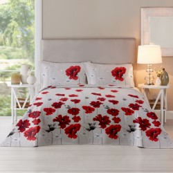 OFERTA 3 PIESE, Red Poppy, lenjerie pat bumbac 100%