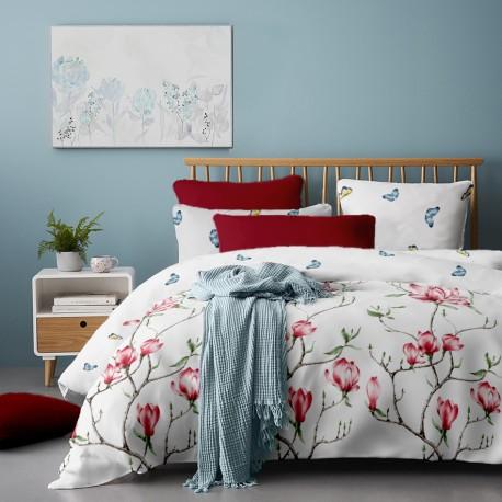 Lenjerie de pat bumbac Magnolia Tree Red V1