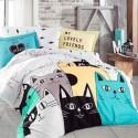 Lenjerii pat bumbac LOVE CATS YELLOW